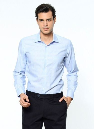 Daffari Uzun Kollu Slim Fit Gömlek Mavi